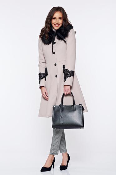 palton crem de iarna toamna elegant frumos femei